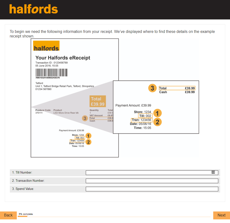 Halfords Customer Satisfaction Feedback Survey