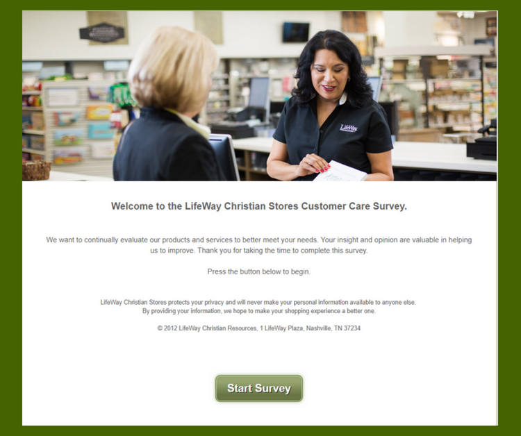 LifeWay Christian Stores Customer Satisfaction survey home